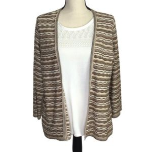 Alfred Dunner Sweater Set Brown Tan Ivory L